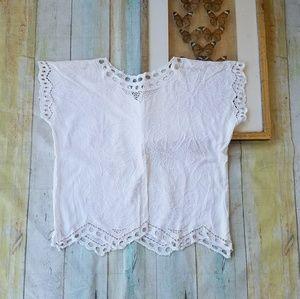 Vintage White Floral Embroidered Festival Top M/L
